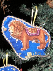 Leo christmas ornament, blue, gold