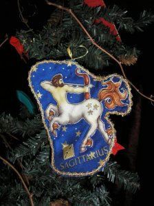 Sagittarius christmas ornament, royal blue, gold trim