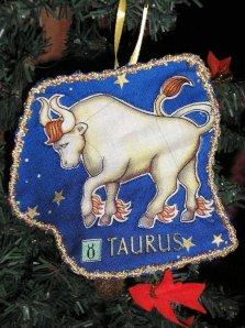 Taurus Christmas ornament, dark blue, gold trim