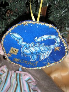 Scorpio Christmas Ornament, royal blue, gold trim