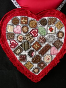 heart chocolate box, cross stitch chocolate candies three dimensional