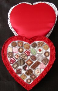 needlework chocolate candies in real chocolate gift box, red satin