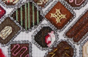 chocolate candies closeup, cherry cordial, cross stitch design
