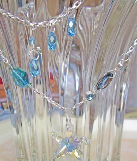 swarovski crystal starfish, large sea blue and green crystals, cosmic oval
