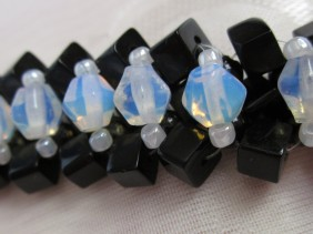 black and milk glass crystal, angle weave bracelet