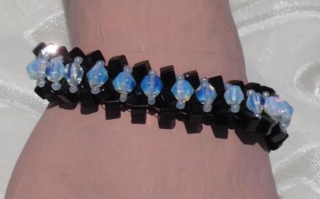 black and milk glass angle weave bracelet