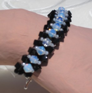 jet and opaline crystal angle weave bracelet