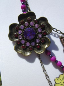 purple flower brooch, red, pink rhinestones