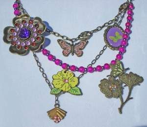 antique bronze brooch necklace, butterfly charms, flower charms