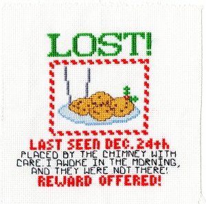 Santa's lost cookies, xmas cross stitch, holiday oven mitt and pot holder set