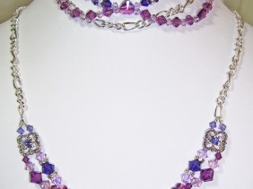 swarovski amethyst hearts necklace and bracelet, purple ombre, silver chain