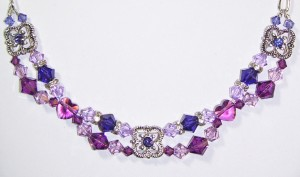 swarovski purple fantasy necklace, amethyst hearts, silver