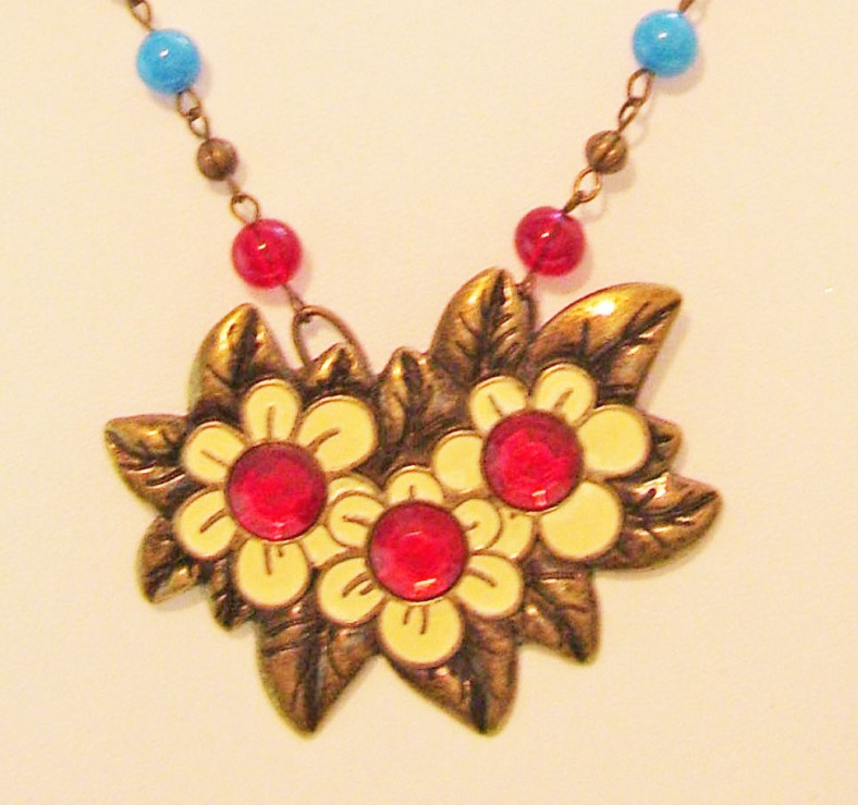 red, yellow, bronze daisy trio pendant, crystal centers