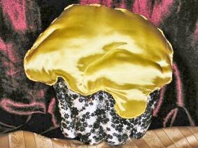 satin cupcake accent pillow, lemon yellow frosting