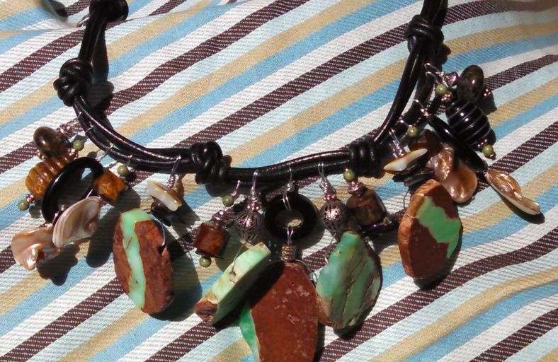 black leather stone necklace, mint green and chocolate brown
