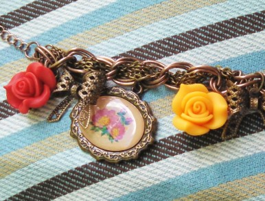 red an yellow 3D flowers, bow charm peach flower charm, antique romance style