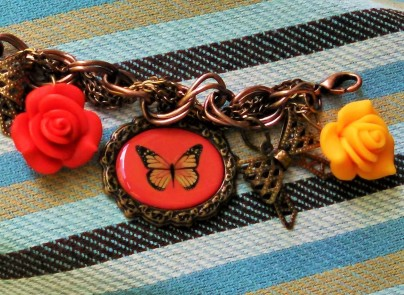 red and yellow 3D flowers, bow charm, red butterfly charm, antique romance style
