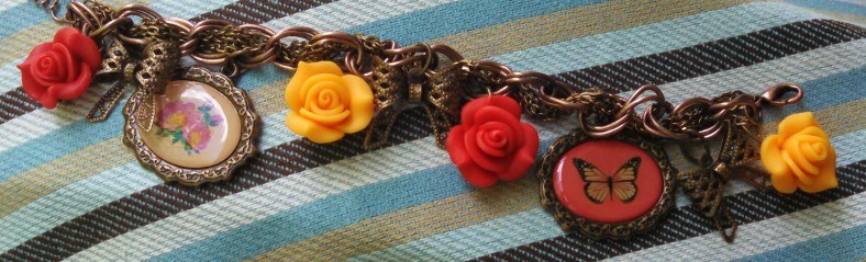3D flower charm bracelet, red and orange
