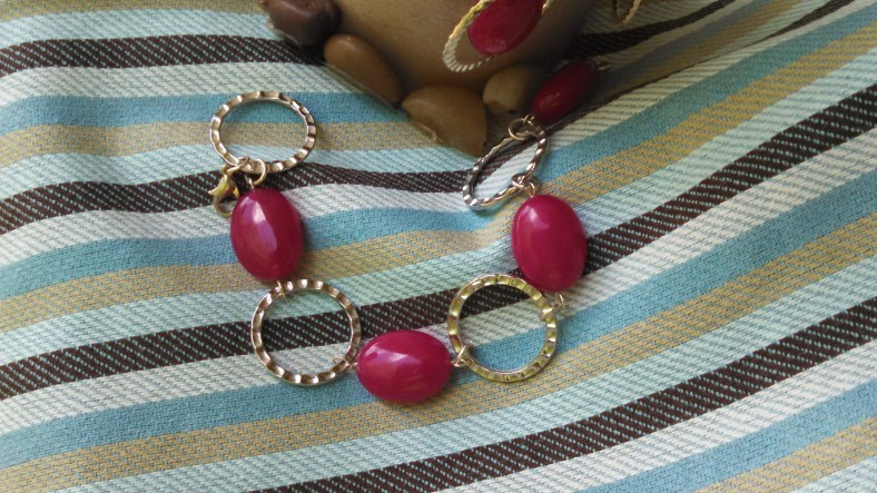 bright pink and silver circle bracelet