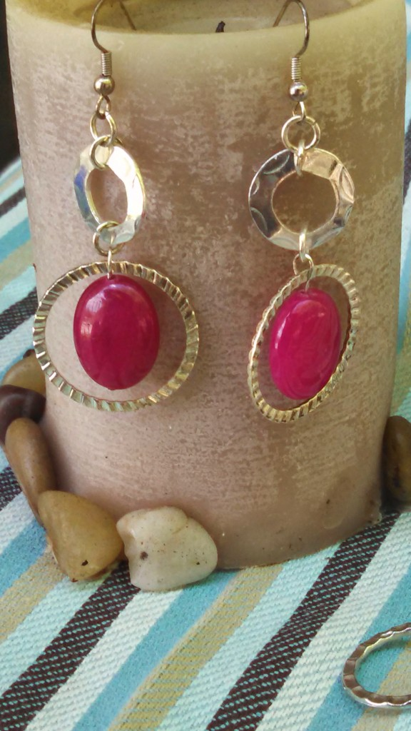 hot pink stone bead and silver circles earrings