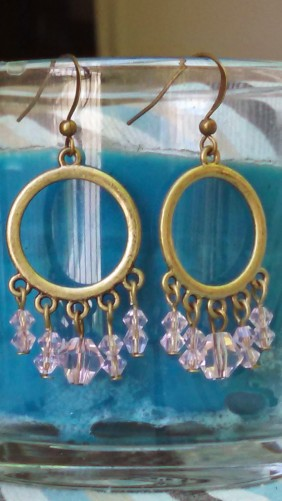 pink crystal dangle earrings, circle design