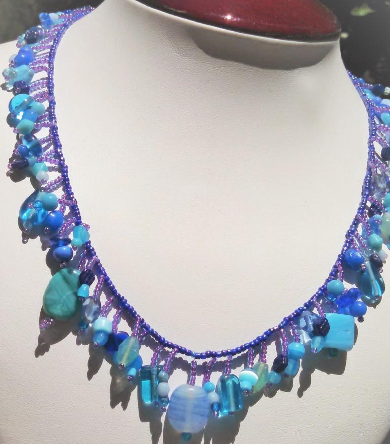 blue beaded fringe necklace