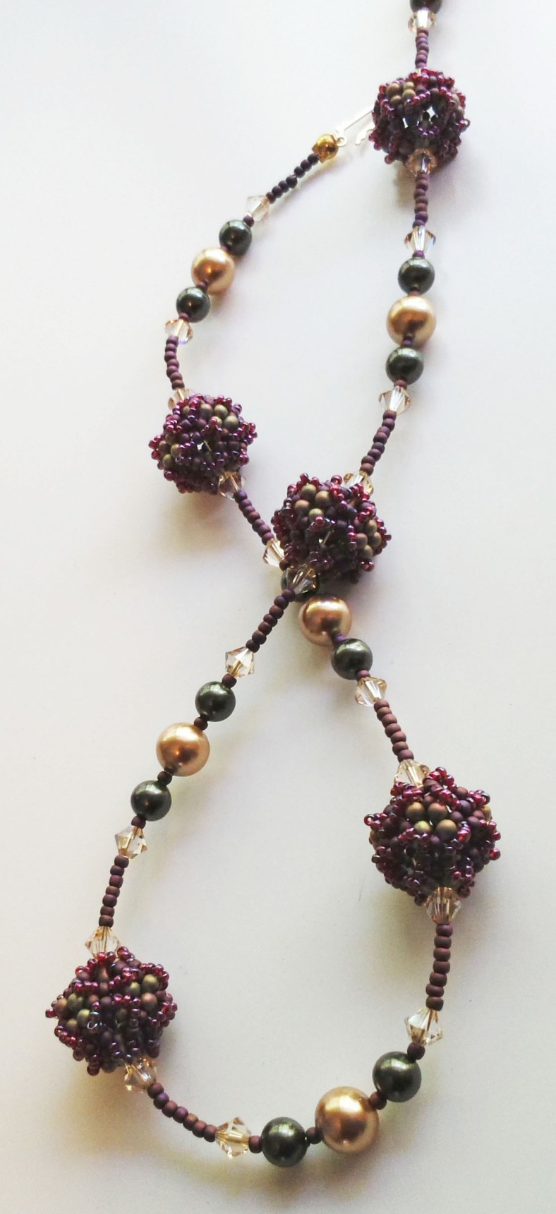green gold purple swarovski beaded necklace