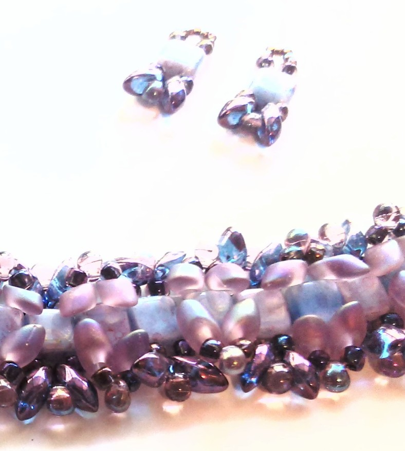purple and violet bracelet and earrings