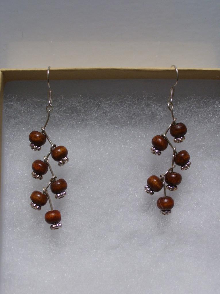 beaded branch earrings