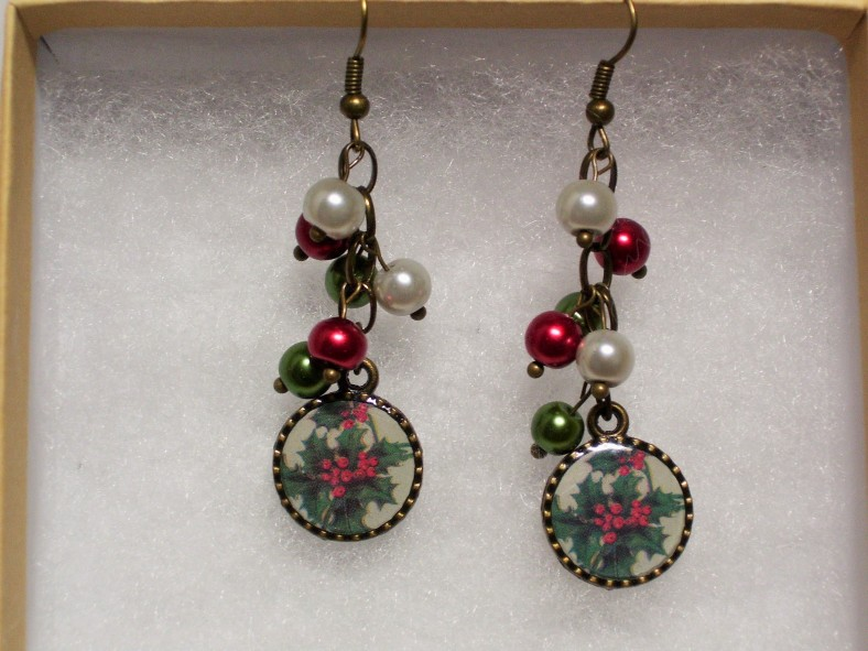 poinsettia holiday earrings