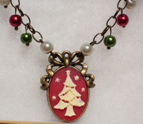 christmas tree cameo pendant