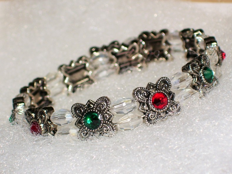 swarovski red and green bracelet