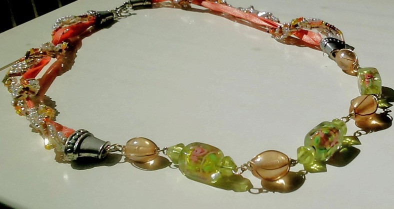 green and peach necklace